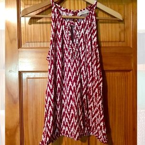 LOFT red & white patterned tank top with sequence